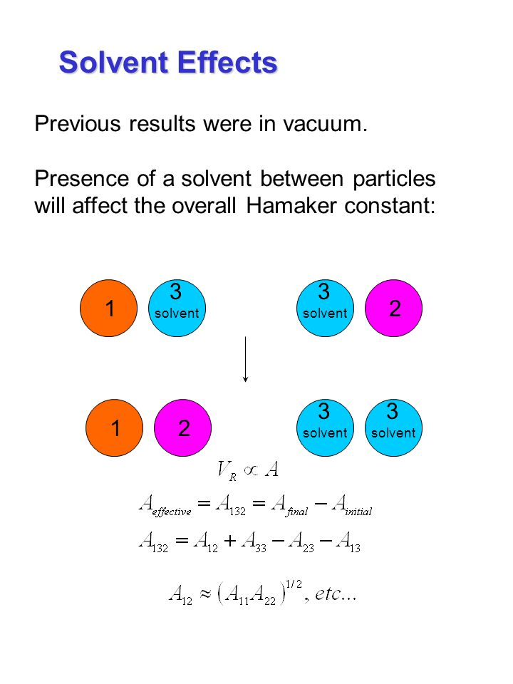 Solvent Effects Previous results were in vacuum.