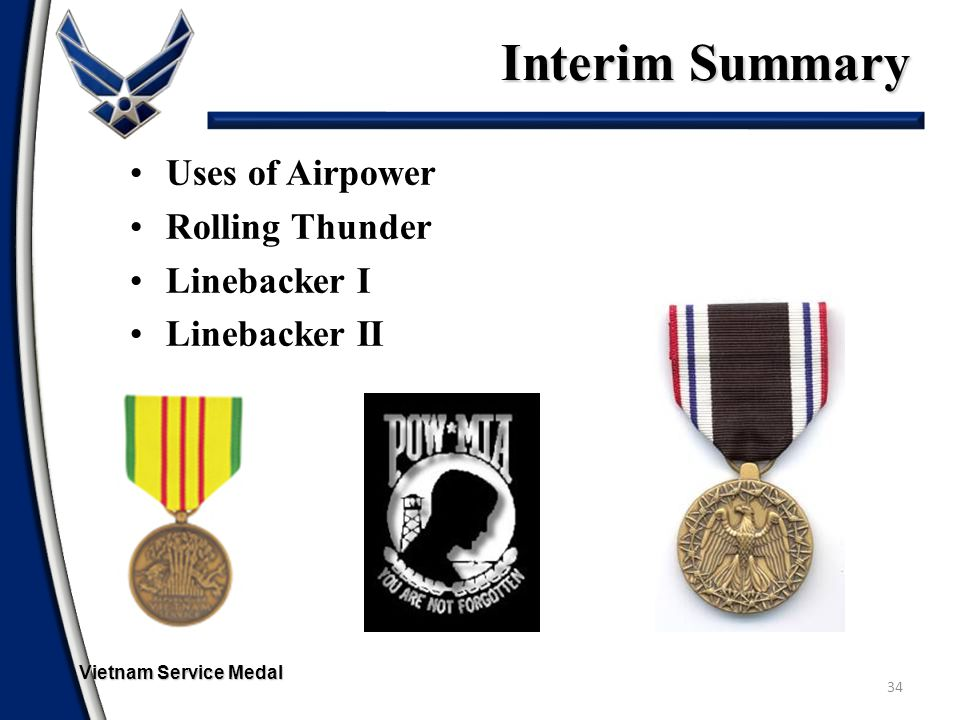 Interim Summary Uses of Airpower Rolling Thunder Linebacker I