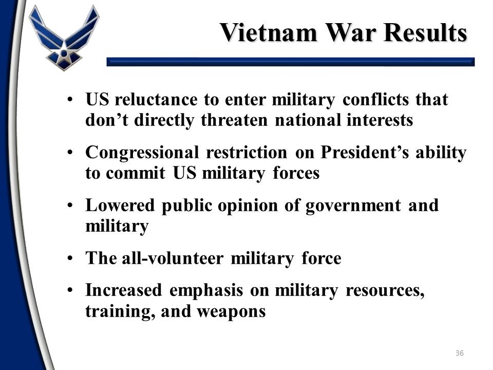 Vietnam War Results US reluctance to enter military conflicts that don't directly threaten national interests.