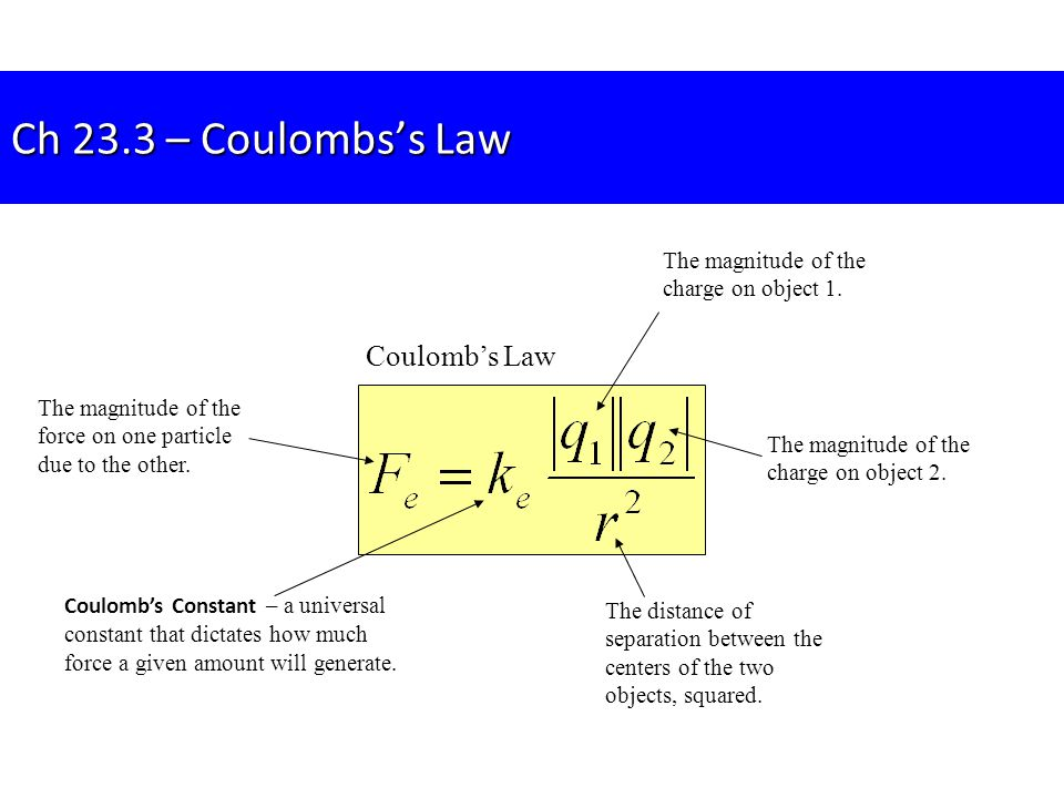 Ch 23.3 – Coulombs's Law Coulomb's Law