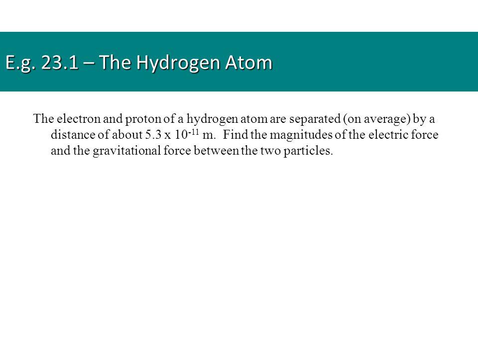 E.g. 23.1 – The Hydrogen Atom
