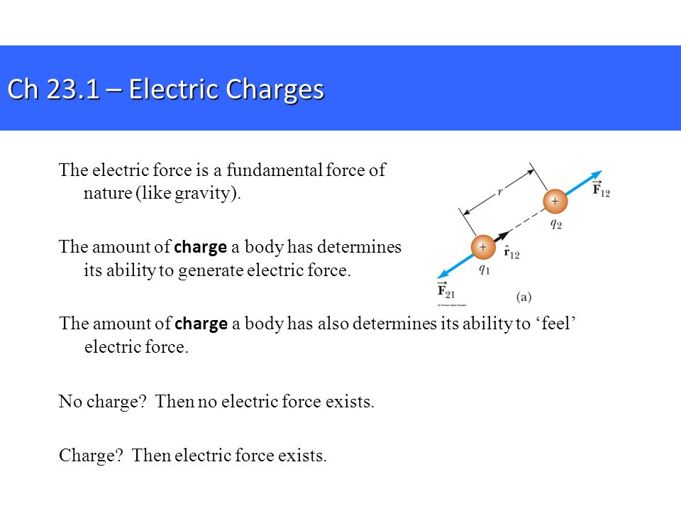 Ch 23.1 – Electric Charges The electric force is a fundamental force of nature (like gravity).