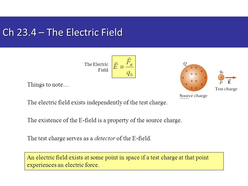 Ch 23.4 – The Electric Field Things to note…