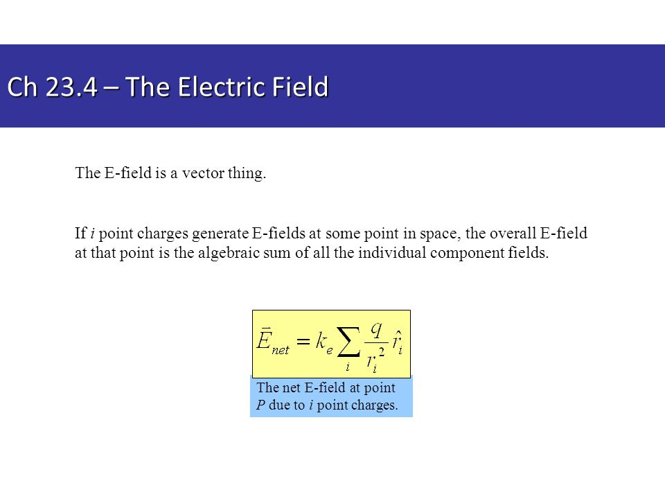 Ch 23.4 – The Electric Field The E-field is a vector thing.