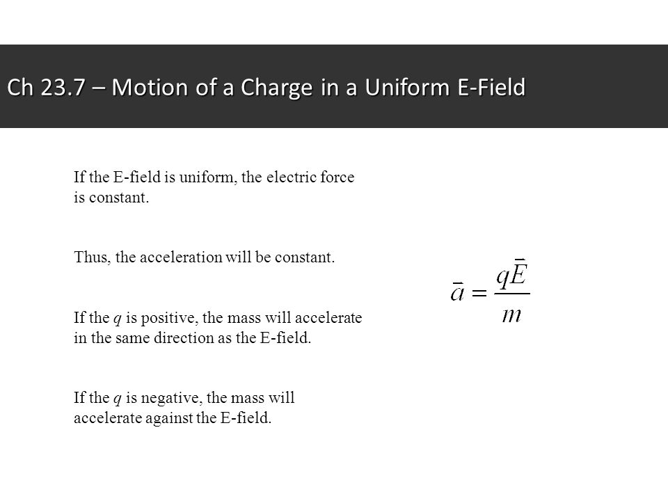 Ch 23.7 – Motion of a Charge in a Uniform E-Field