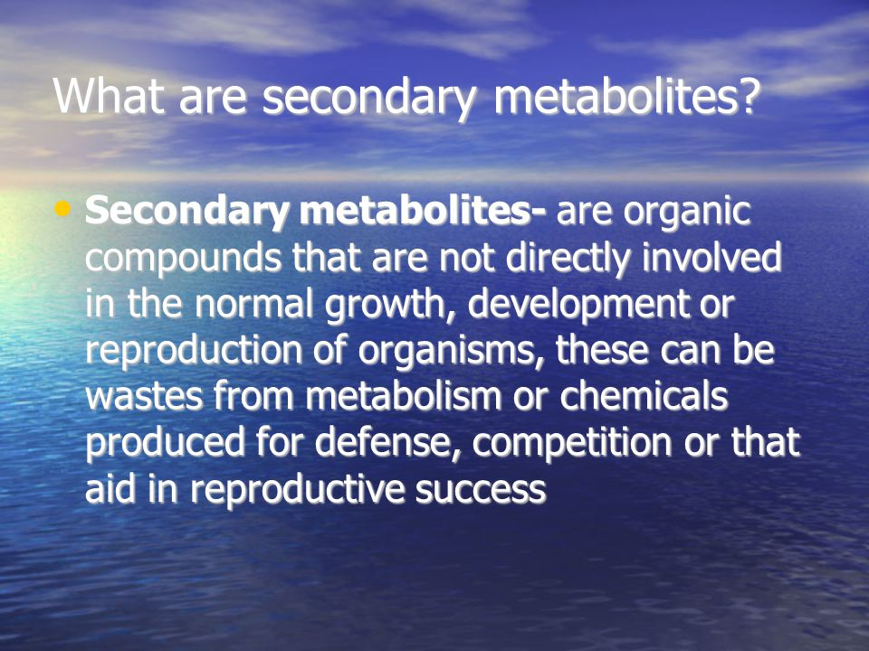 What are secondary metabolites