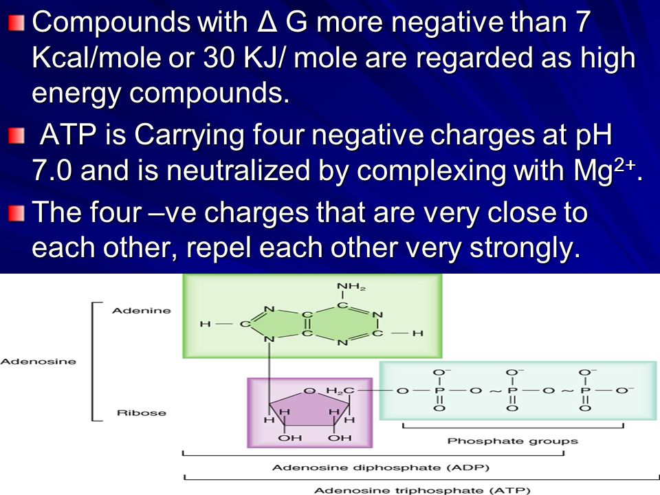 Compounds with Δ G more negative than 7 Kcal/mole or 30 KJ/ mole are regarded as high energy compounds.