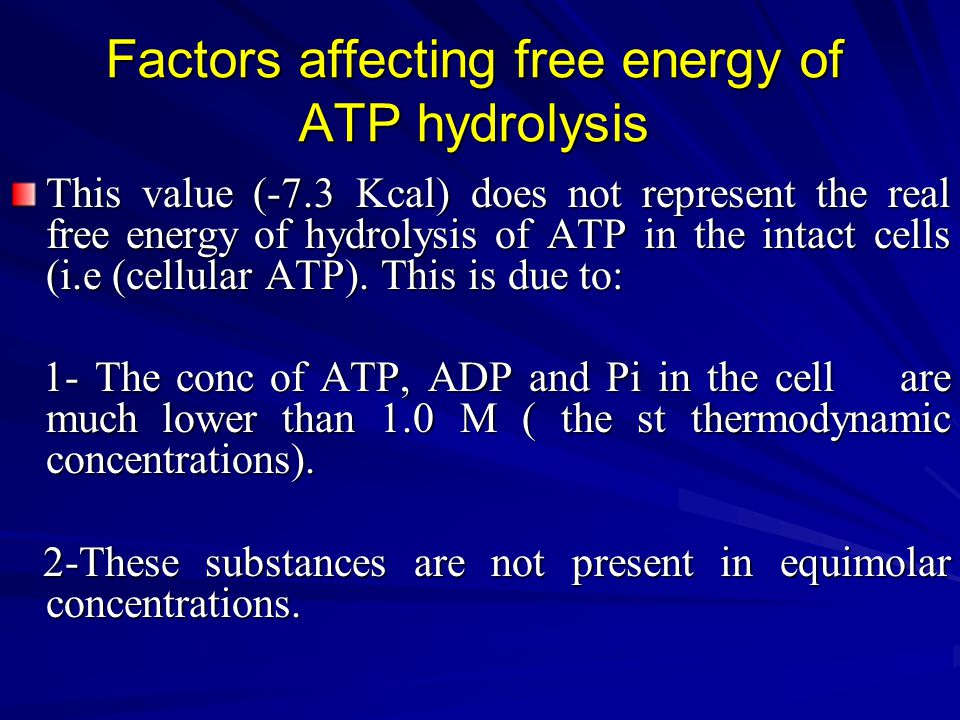 Factors affecting free energy of ATP hydrolysis