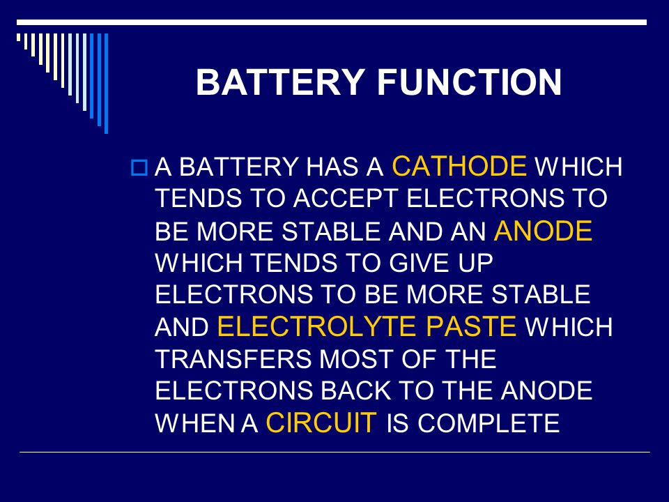 BATTERY FUNCTION