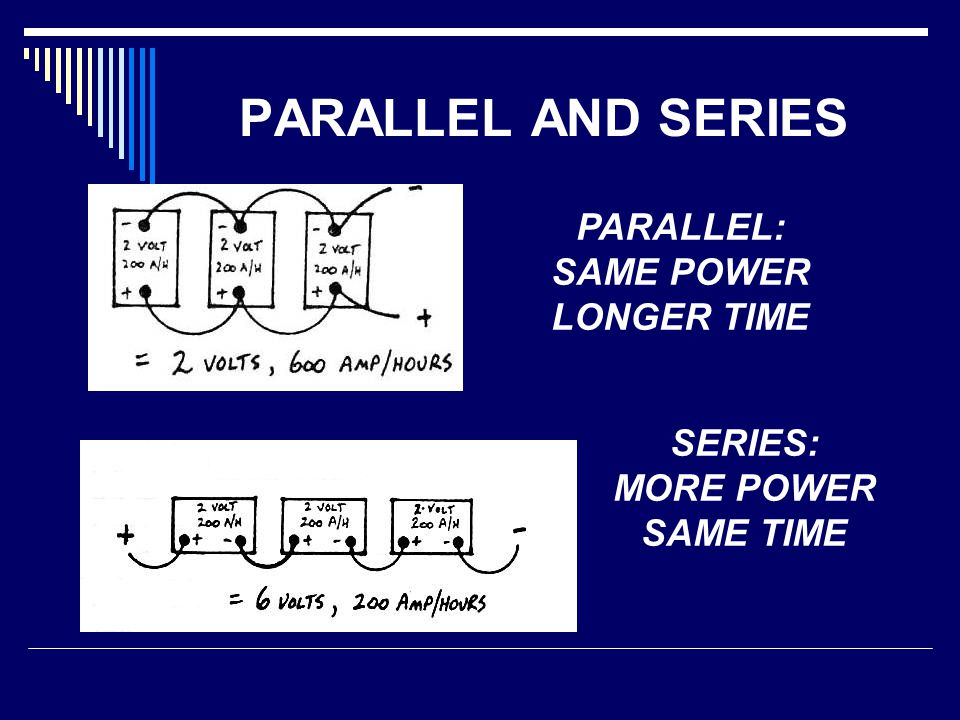 PARALLEL AND SERIES PARALLEL: SAME POWER LONGER TIME SERIES: