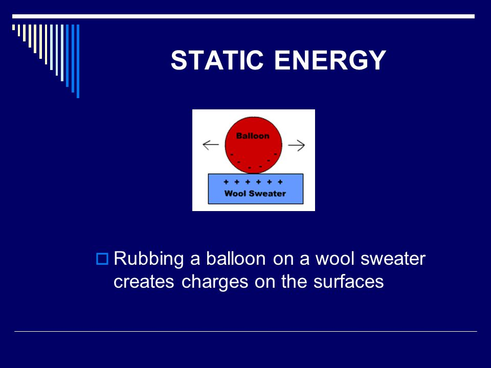 STATIC ENERGY Rubbing a balloon on a wool sweater creates charges on the surfaces