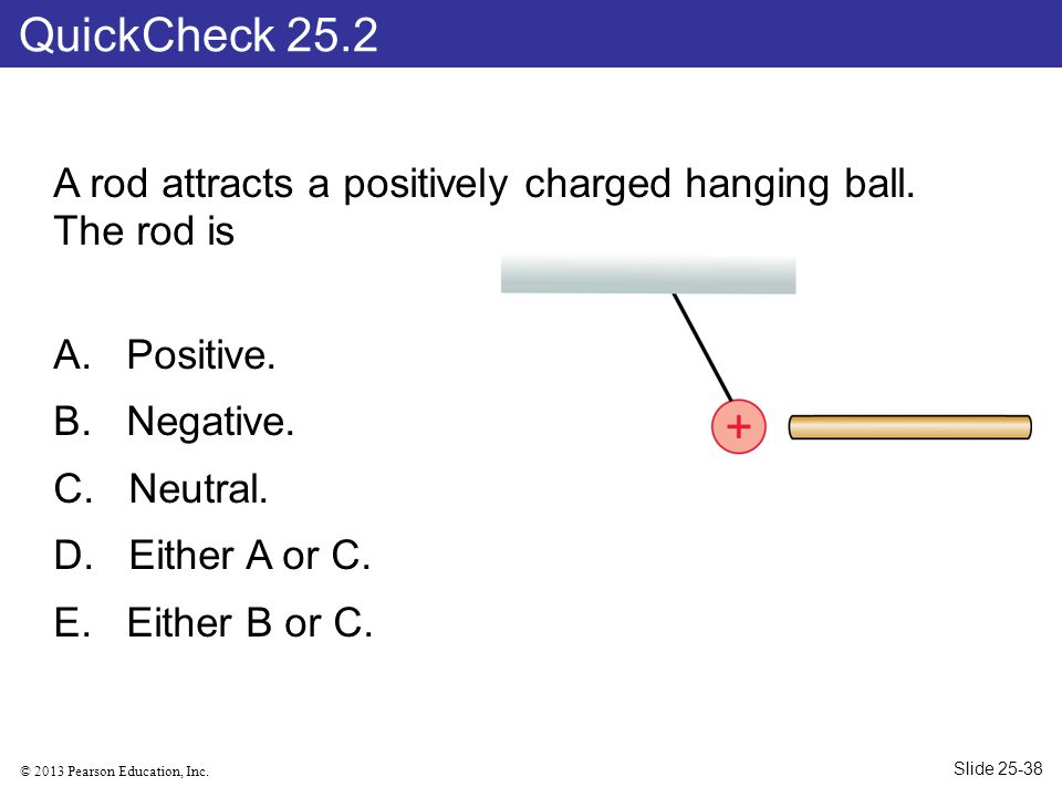 QuickCheck 25.2 A rod attracts a positively charged hanging ball. The rod is. Positive. Negative.