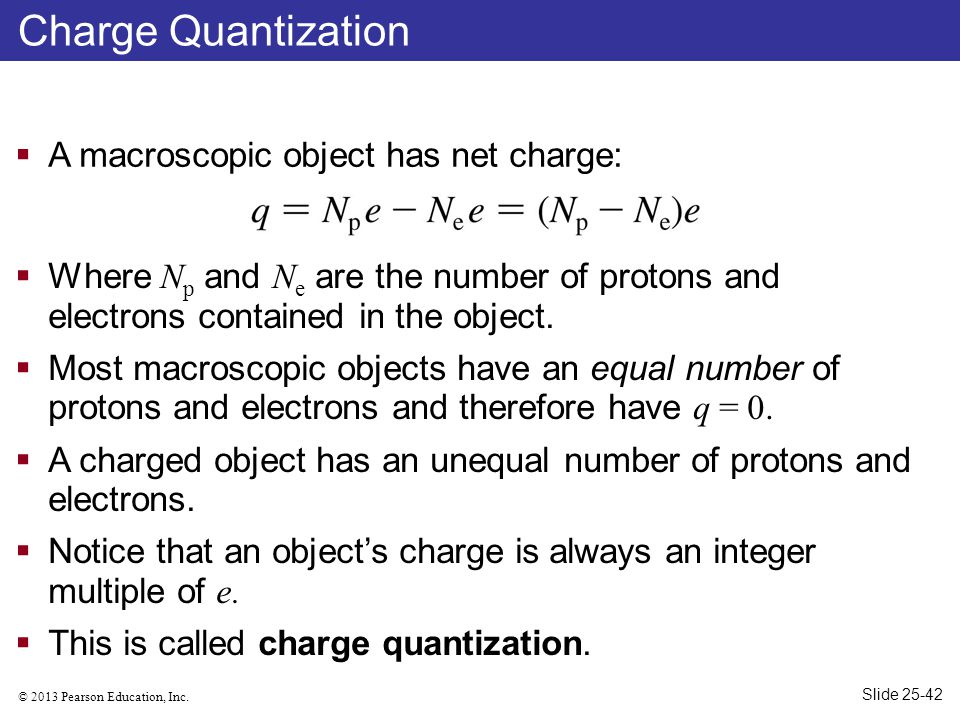 Charge Quantization A macroscopic object has net charge: