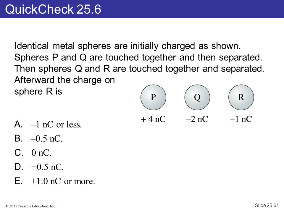 QuickCheck 25.6 Identical metal spheres are initially charged as shown. Spheres P and Q are touched together and then separated.