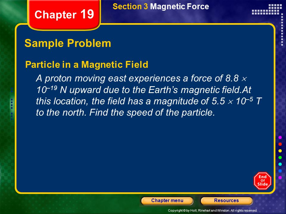 Chapter 19 Sample Problem Particle in a Magnetic Field