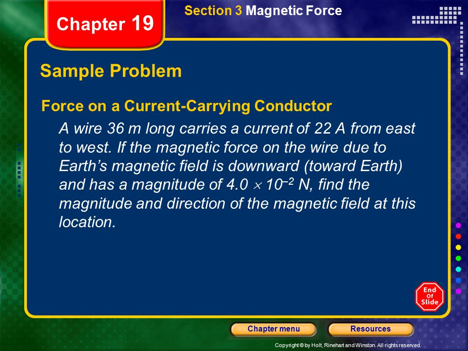 Chapter 19 Sample Problem Force on a Current-Carrying Conductor