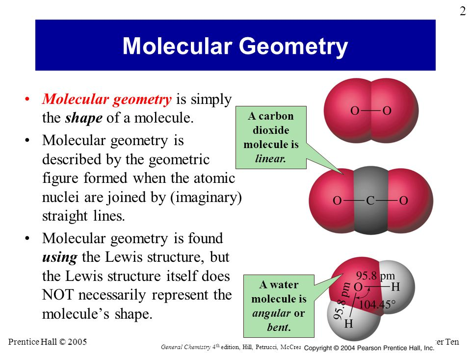 Molecular Geometry Molecular geometry is simply the shape of a molecule.
