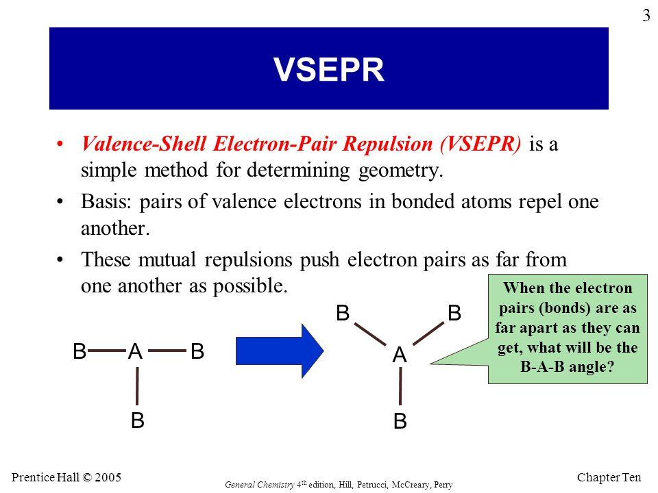 VSEPR Valence-Shell Electron-Pair Repulsion (VSEPR) is a simple method for determining geometry.