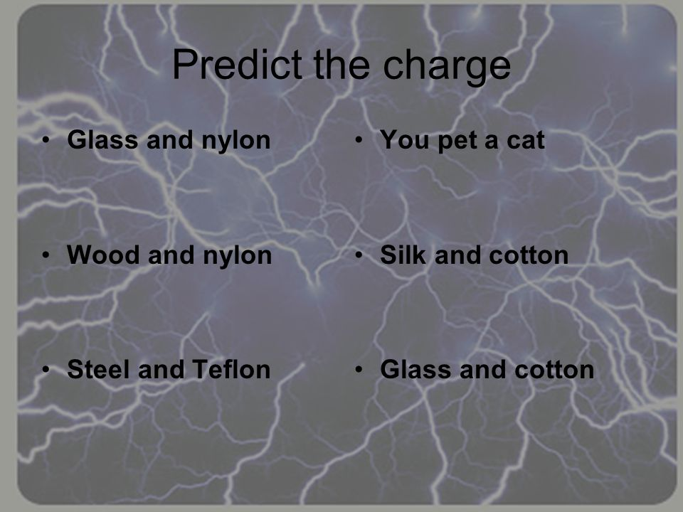 Predict the charge Glass and nylon Wood and nylon Steel and Teflon