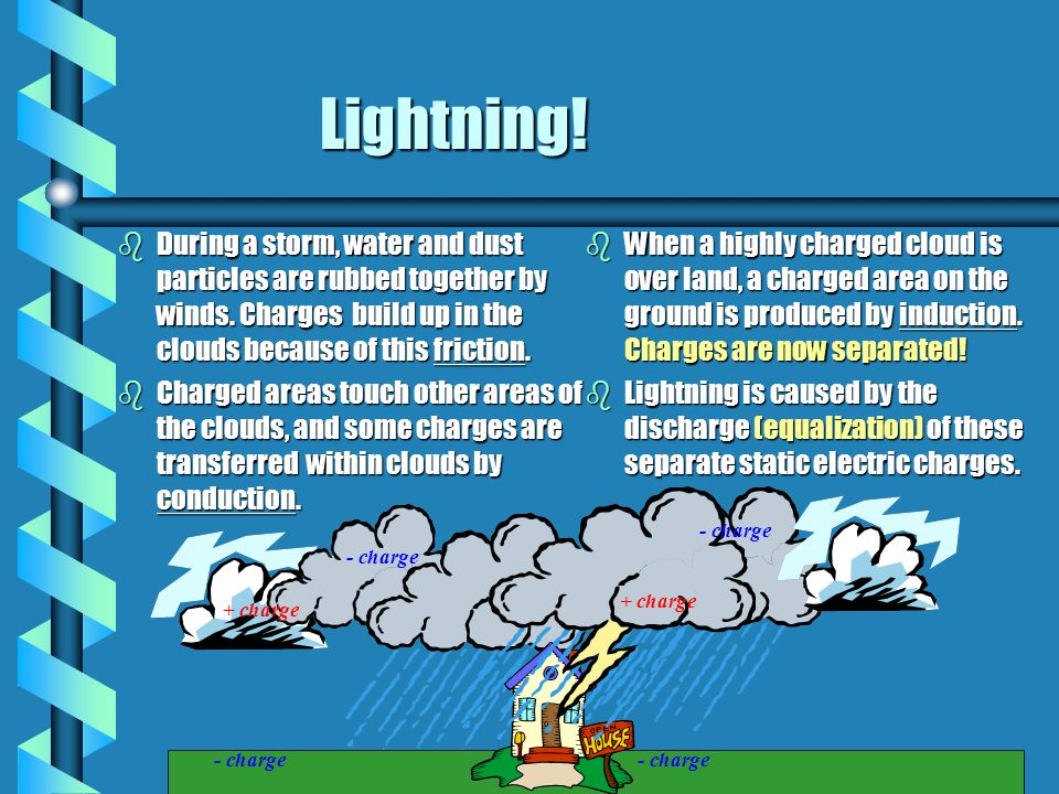 Lightning! During a storm, water and dust particles are rubbed together by winds. Charges build up in the clouds because of this friction.