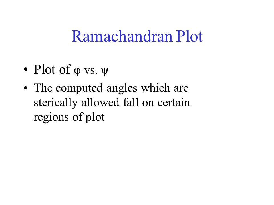 Ramachandran Plot Plot of φ vs. ψ