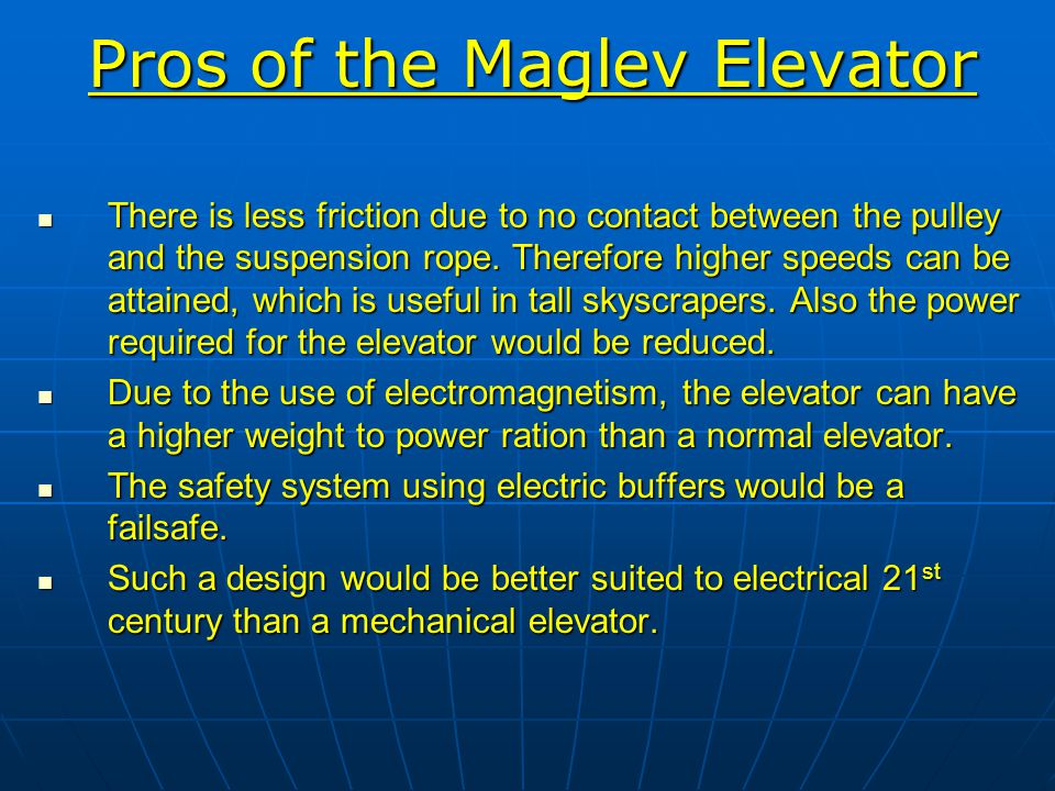 Pros of the Maglev Elevator