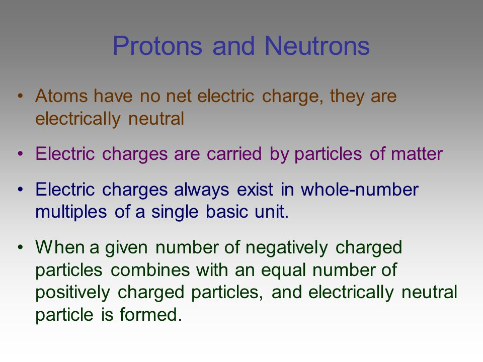 Protons and Neutrons Atoms have no net electric charge, they are electrically neutral. Electric charges are carried by particles of matter.