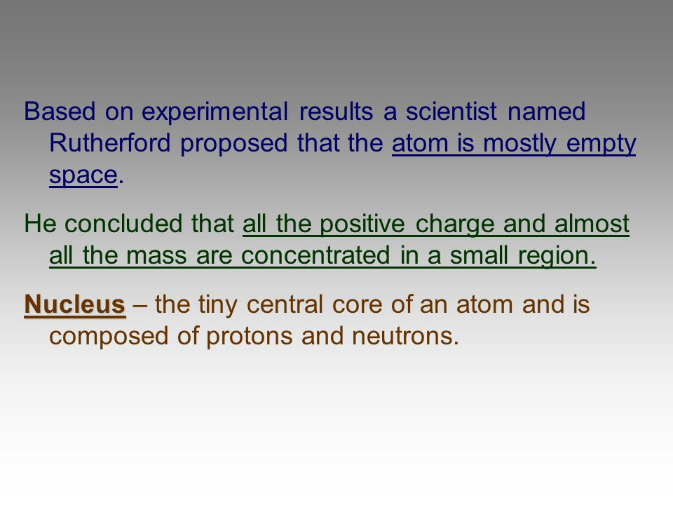 Based on experimental results a scientist named Rutherford proposed that the atom is mostly empty space.