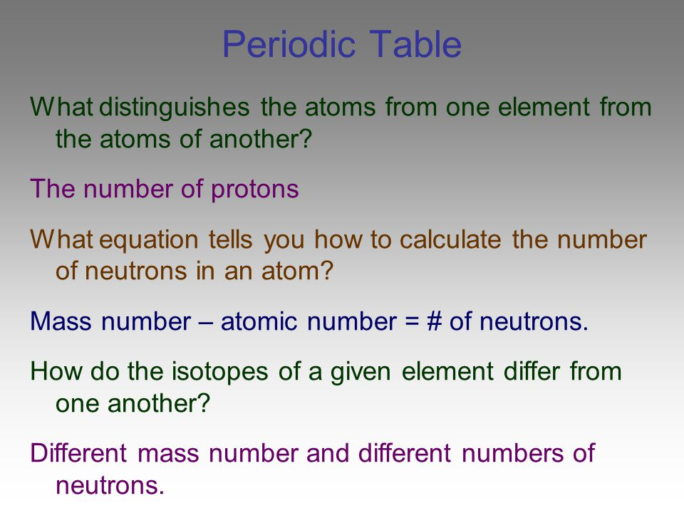 Periodic Table What distinguishes the atoms from one element from the atoms of another The number of protons.