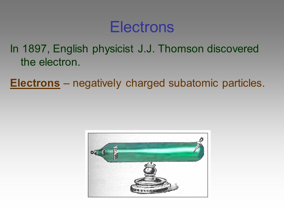 Electrons In 1897, English physicist J.J. Thomson discovered the electron.