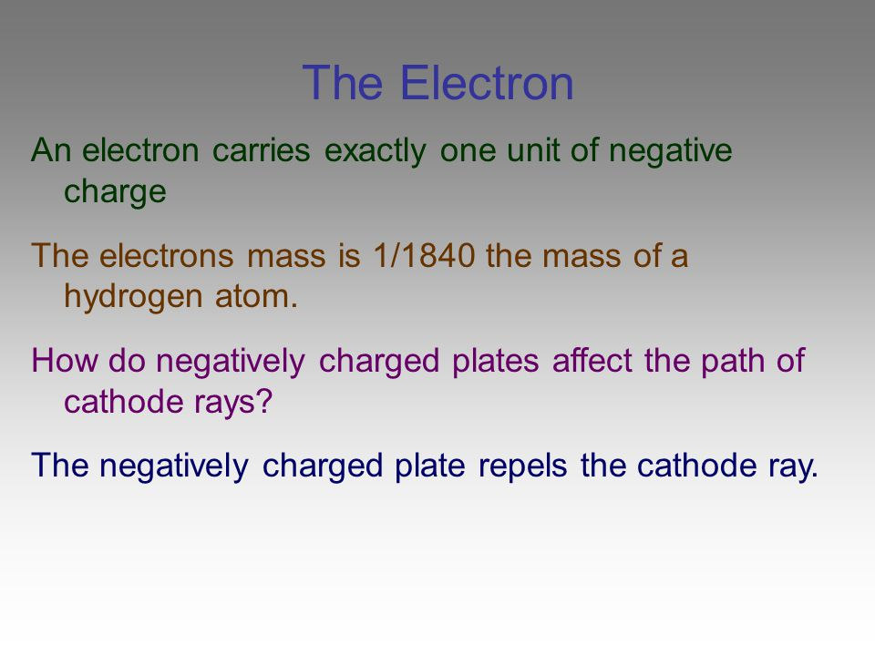 The Electron An electron carries exactly one unit of negative charge