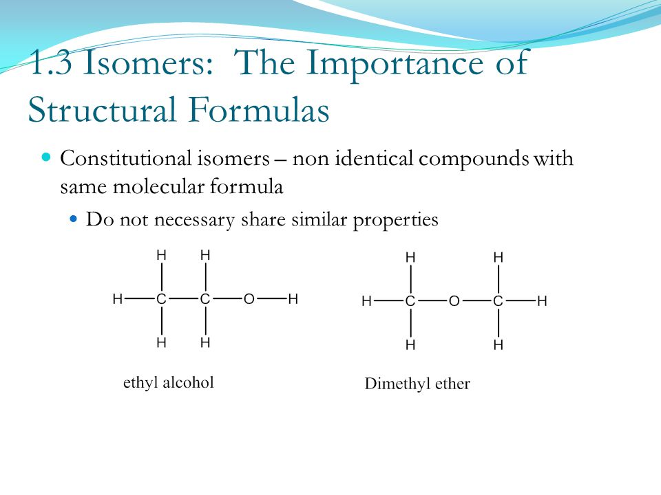 1.3 Isomers: The Importance of Structural Formulas