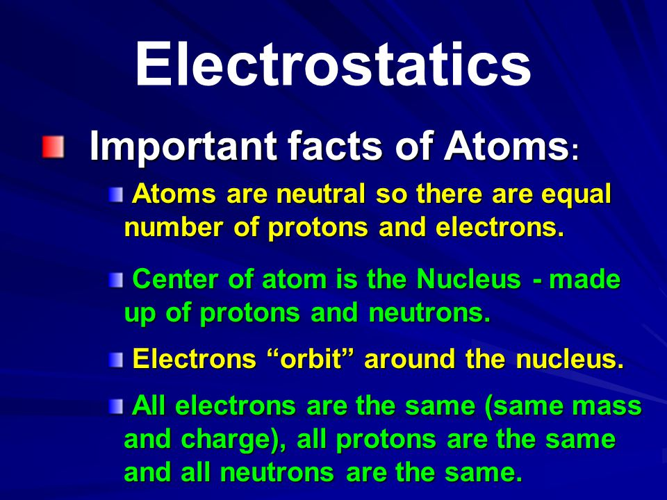 Electrostatics Important facts of Atoms: