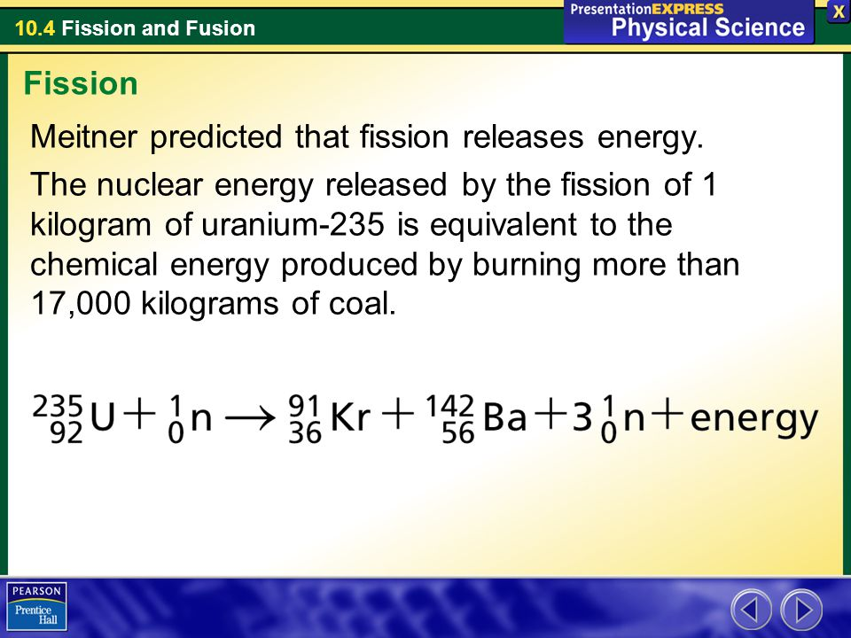 Fission Meitner predicted that fission releases energy.