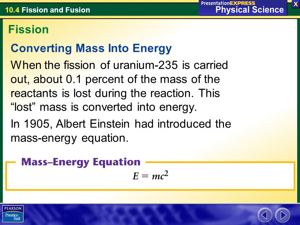 Fission Converting Mass Into Energy.