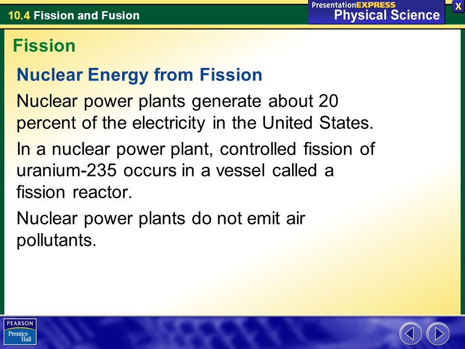 Fission Nuclear Energy from Fission. Nuclear power plants generate about 20 percent of the electricity in the United States.