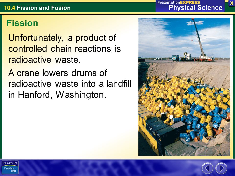 Fission Unfortunately, a product of controlled chain reactions is radioactive waste.