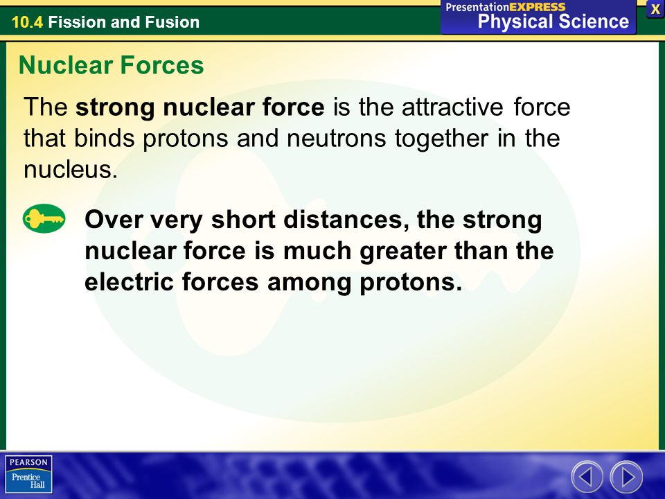 Nuclear Forces The strong nuclear force is the attractive force that binds protons and neutrons together in the nucleus.