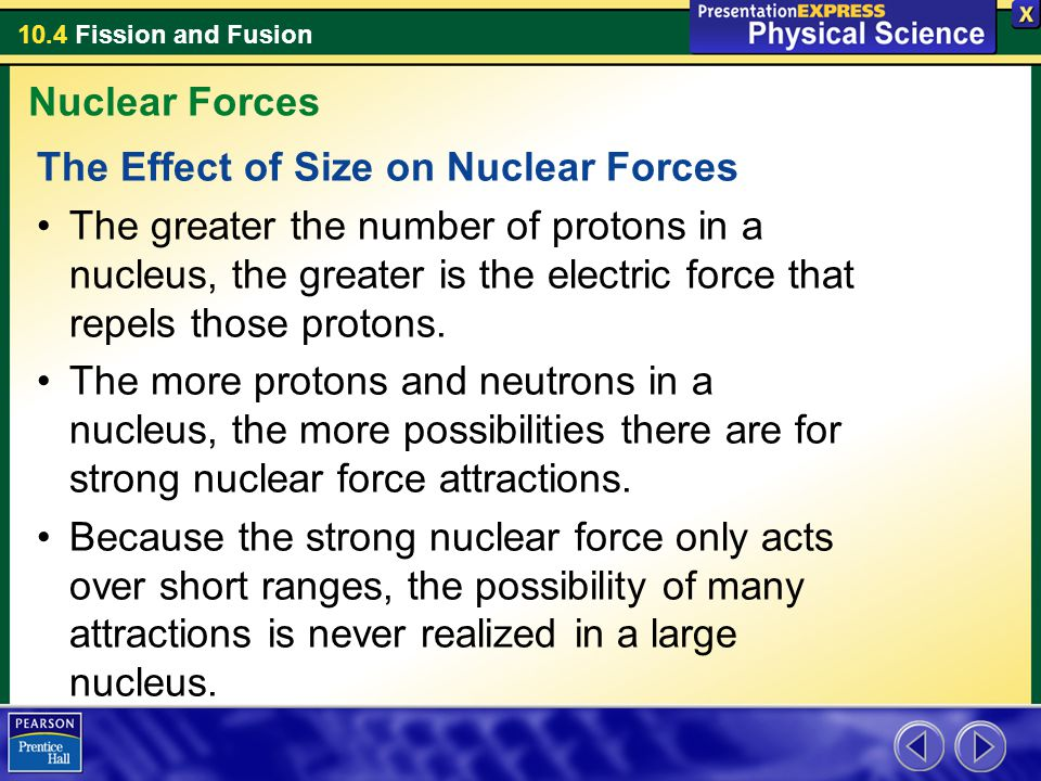 Nuclear Forces The Effect of Size on Nuclear Forces.