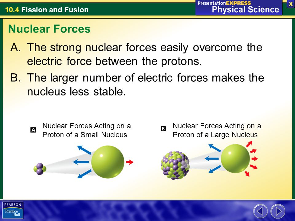 The larger number of electric forces makes the nucleus less stable.