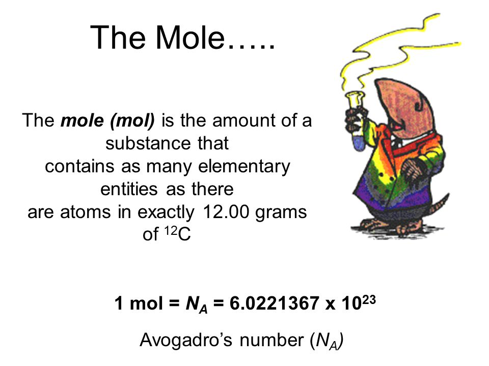 The Mole….. The mole (mol) is the amount of a substance that