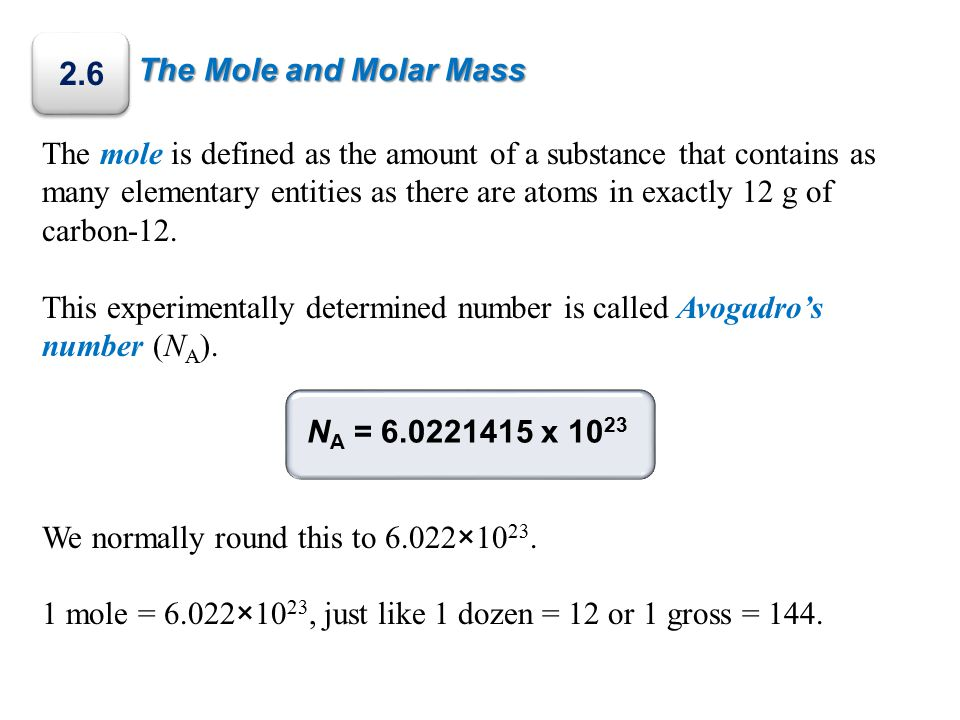 2.6 The Mole and Molar Mass.