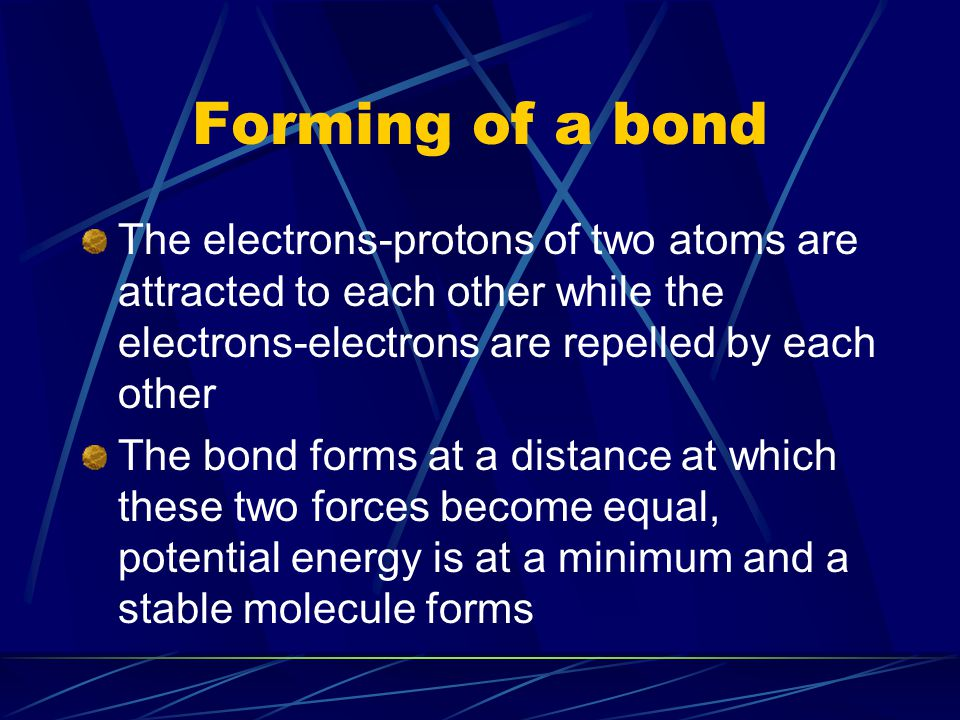 Forming of a bond The electrons-protons of two atoms are attracted to each other while the electrons-electrons are repelled by each other.