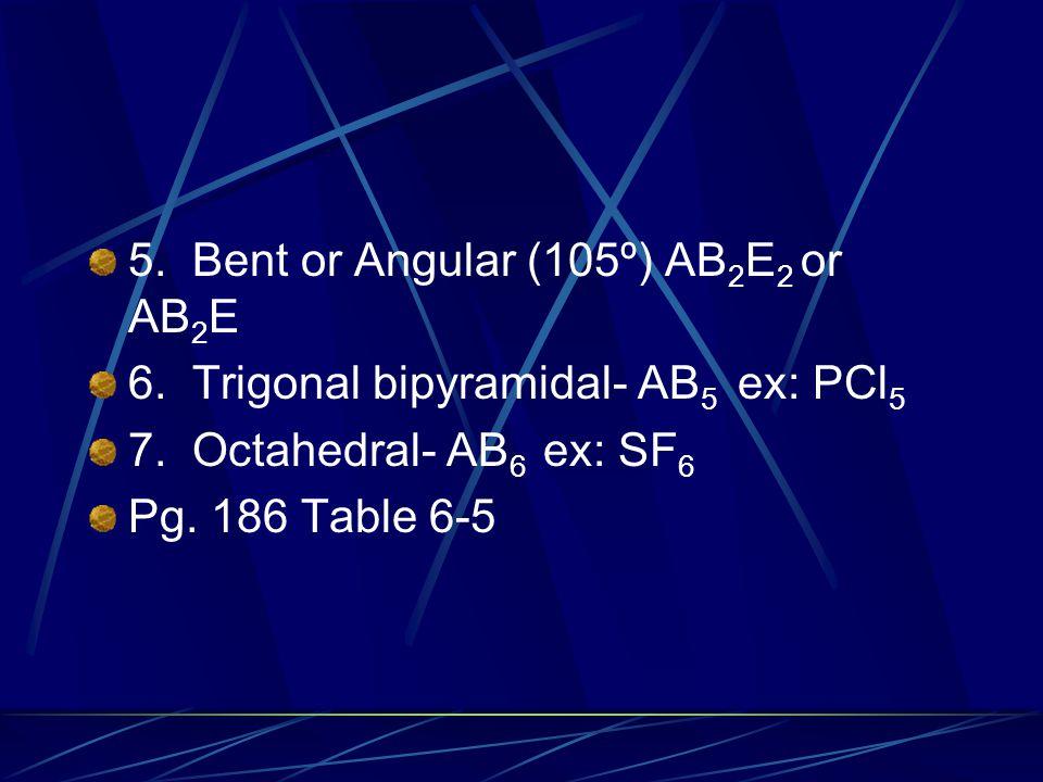 5. Bent or Angular (105º) AB2E2 or AB2E