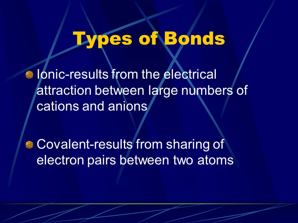 Types of Bonds Ionic-results from the electrical attraction between large numbers of cations and anions.