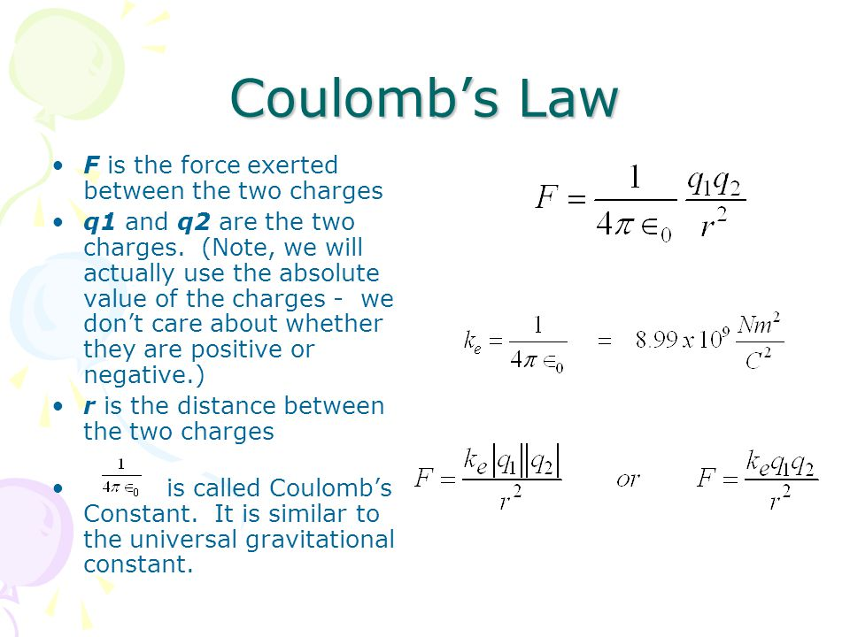 Coulomb's Law F is the force exerted between the two charges