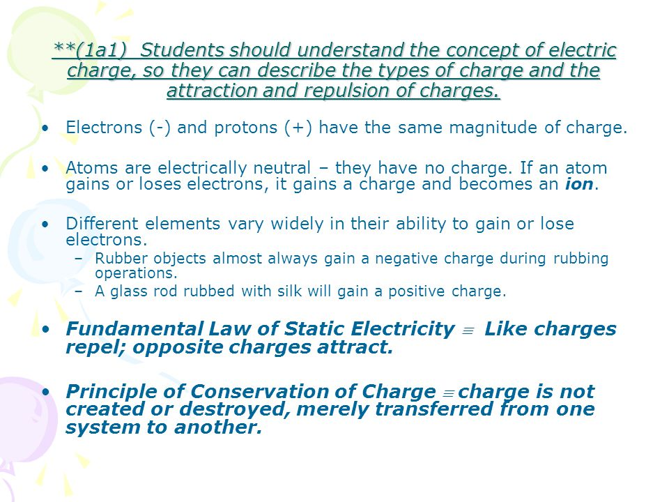 **(1a1) Students should understand the concept of electric charge, so they can describe the types of charge and the attraction and repulsion of charges.
