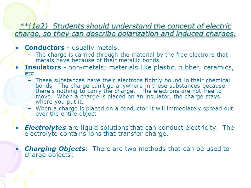 **(1a2) Students should understand the concept of electric charge, so they can describe polarization and induced charges.