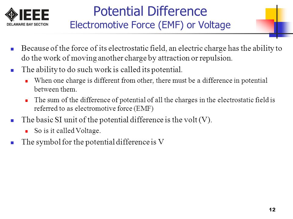 Potential Difference Electromotive Force (EMF) or Voltage