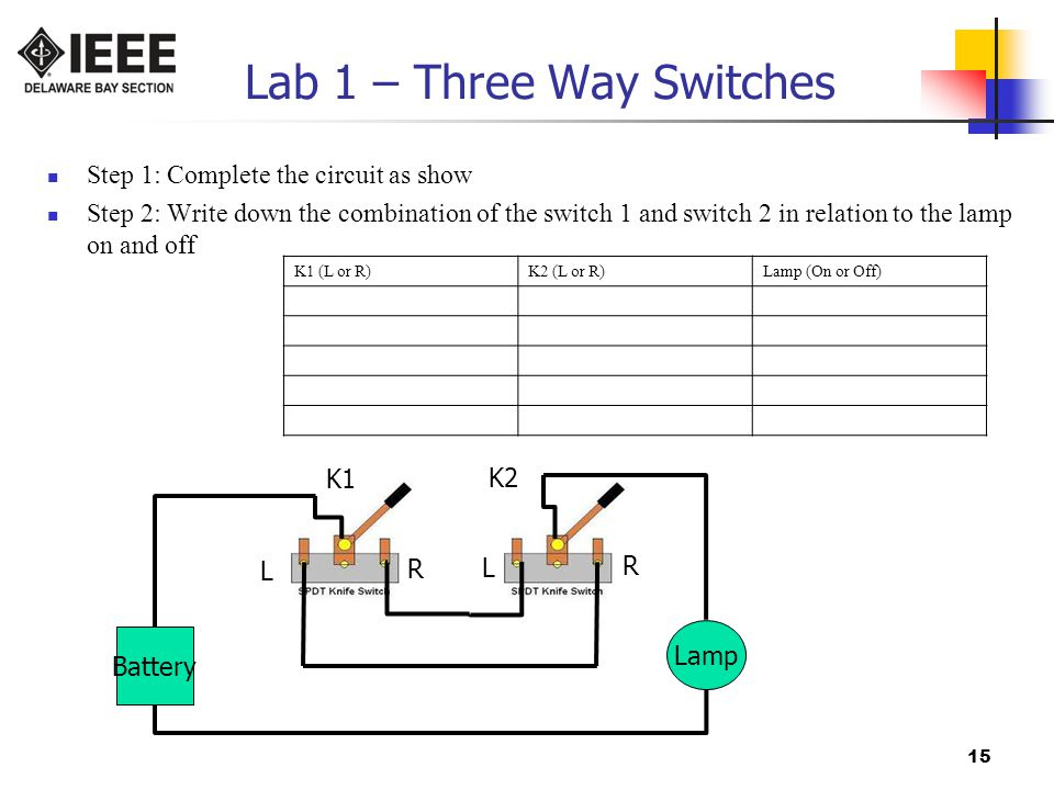 Lab 1 – Three Way Switches